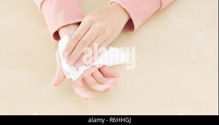 Woman Hand sweating - Stock Photo