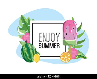 square emblem with watermelon ice lolly and leaves - Stock Photo