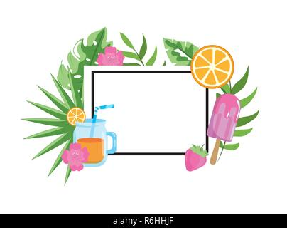 square emblem with tropical fruits and leaves - Stock Photo