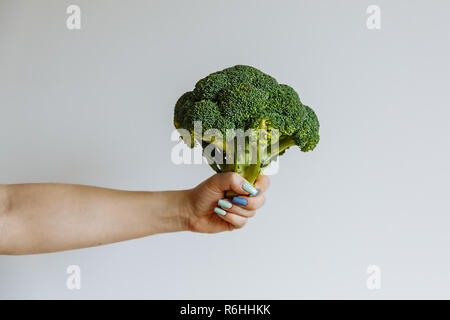 Woman Hand holding raw broccoli cabbage florets infront of white background. Heathy lifstyle concept - Stock Photo