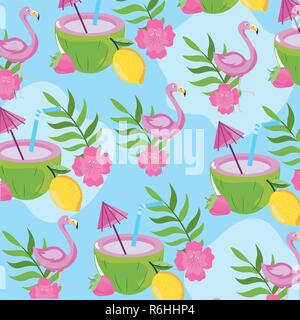 tropical fruits with flamish and leaves background - Stock Photo