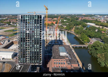 Aerial view construction site new apartment building Amsterdam, the Netherlands - Stock Photo