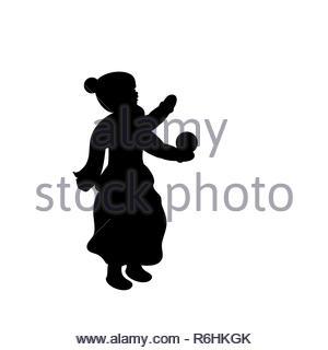 Silhouette girl winter girl throws snow. Vector illustration - Stock Photo