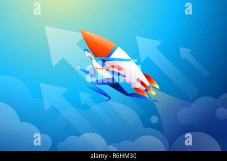 Businessman flying on rocket, graph that shows increase in sales, vector illustration in flat design - Stock Photo