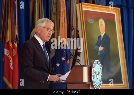 Former Secretary of Defense Chuck Hagel speaks during his portrait unveiling ceremony hosted by Secretary of Defense James Mattis at the Pentagon, Arlington, Va., May 19, 2017. - Stock Photo