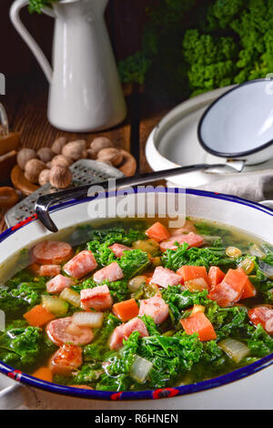 a tasty kale soup - Stock Photo