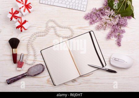 Woman's workplace top view. Mockup. - Stock Photo