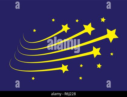 Star trail comet trace  lines on blue background. Vector Illustration EPS10 - Stock Photo