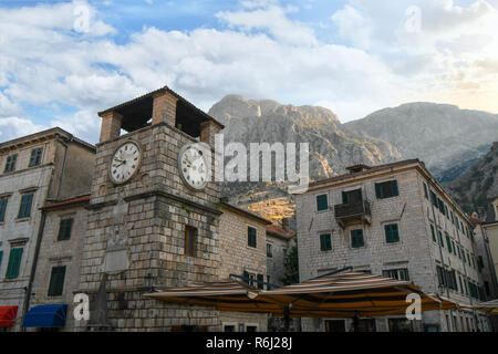 The Clock Tower in the Piazza of the Arms, the main and largest town square in Kotor, Montenegro