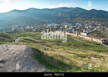 View of the Genoese fortress in the city of Sudak. Crimea. Ukraine. - Stock Photo