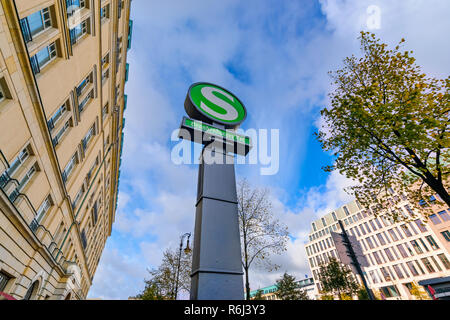 BERLIN GERMANY - OCTOBER 08 2017: The Underground metro S-Bahn train station sign Symbol of the Brandenburger tor on october 08 2017. - Stock Photo
