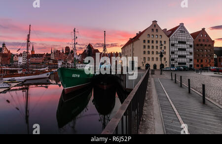 Evening scenery with boats of Gdansk old town in Poland - Stock Photo