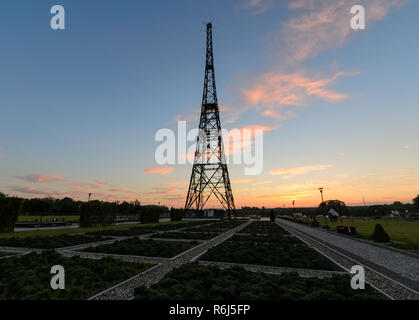 Historic radiostation tower in Gliwice, Poland during sunset time. - Stock Photo