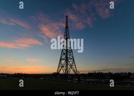 Historic radiostation tower in Gliwice, Poland in sunset time. - Stock Photo