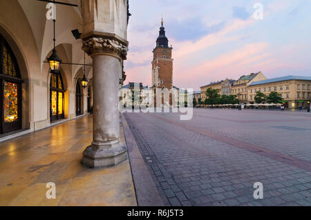 Town hall tower in the main square of  Krakow. Poland. - Stock Photo