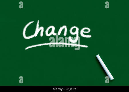 Change handwritten and underlined on blackboard or chalkboard - Stock Photo