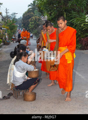 Monks in saffron robes take alms at dawn from local people in the town of Luang Prabang, Laos, South East Asia