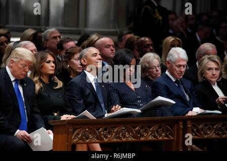 From left, President Donald Trump, first lady Melania Trump, former President Barack Obama, Michelle Obama, former President Bill Clinton and former Secretary of State Hillary Clinton listen during a State Funeral at the National Cathedral, Wednesday, Dec. 5, 2018, in Washington, for former President George H.W. Bush. Credit: Alex Brandon/Pool via CNP/MediaPunch - Stock Photo