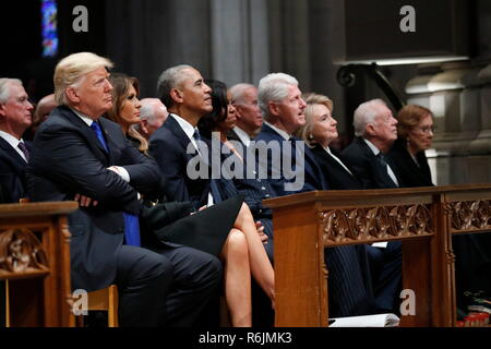 From left, President Donald Trump, first lady Melania Trump, former President Barack Obama, former first lady Michelle Obama, former President Bill Clinton, former Secretary of State Hillary Clinton, and former President Jimmy Carter and former first lady Rosalynn Carter, listen as former President George W. Bush speaks during a State Funeral at the National Cathedral, Wednesday, Dec. 5, 2018, in Washington, for former President George H.W. Bush. Credit: Alex Brandon/Pool via CNP/MediaPunch - Stock Photo
