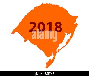 map of rio grande do sul 2018 - Stock Photo