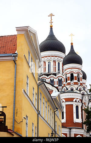 The Alexander Nevsky Cathedral in the Tallinn Old Town, Estonia. It was built to a design by Mikhail Preobrazhensky in a typical Russian Revival style - Stock Photo