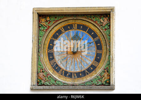 Clock of the Church of the Holy Ghost in Tallinn, made by Christian Ackermann, Estonia - Stock Photo