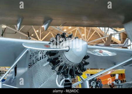 Charles Lindbergh's Spirit of St. Louis replica at Evergreen Aviation & Space Museum in McMinnville, Oregon - Stock Photo