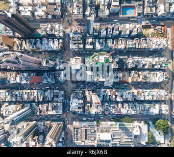Top view of compact city in Hong Kong - Stock Photo