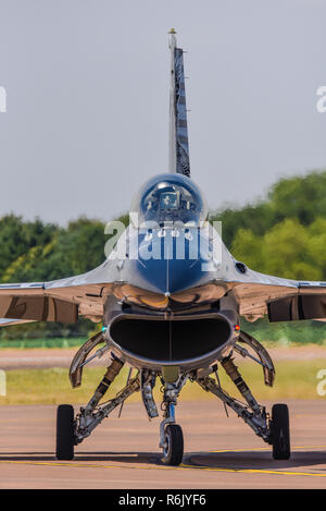 General Dynamics F-16 Fighting Falcon fighter jet plane at Royal International Air Tattoo, RIAT, RAF Fairford airshow. Lockheed F16 front, profile - Stock Photo