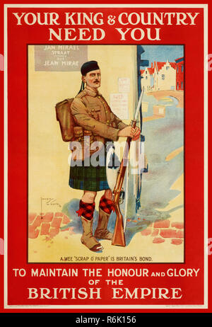 Vintage WW1 British recruitment propaganda poster 'YOUR KING & COUNTRY NEED YOU' To maintain the honour and glory of the BRITISH EMPIRE.  Illustrating a Scots guard in kilt standing at ease on a French street 1914 World War One/ First World War/ World War 1 - Stock Photo