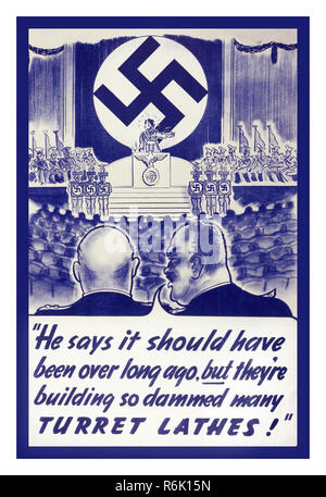 """WW2 Vintage Propaganda Poster USA  Hitler with Swastika symbol on podium speaking """"He Says it should have been over long ago but they're building so dammed many Turret Lathes!'  circa 1942 - Stock Photo"""
