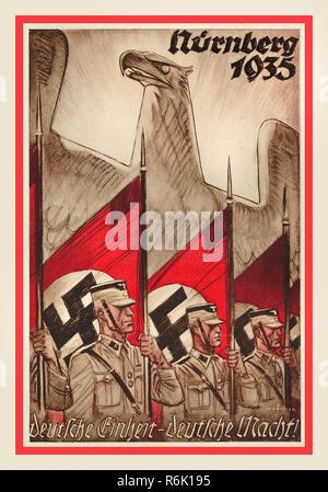 "Nazi 1930's pre-war NSDAP Propaganda illustration poster Nürnberg Nuremberg 1935 showing German Eagle symbol with uniformed guard holding swastika flags on parade Nazi Germany ""GERMANY UNITY-GERMAN POWER - Stock Photo"