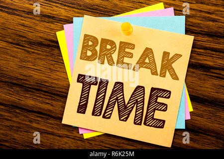 Conceptual hand writing text caption inspiration showing Break Time. Business concept for Stop Pause From Work Workshop written on sticky note paper on the wooden background. - Stock Photo
