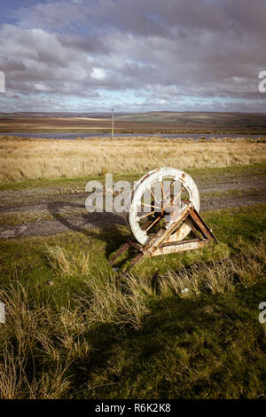 Pulley wheel at Fochriw near the Colliery mine feeder pond - abandoned workings from the late 19th century, industrial heritage, South Wales, UK - Stock Photo