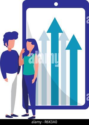 business people smartphone financial arrows vector illustration