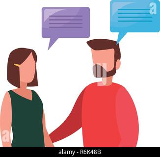 business man and woman talking dialogue vector illustration - Stock Photo