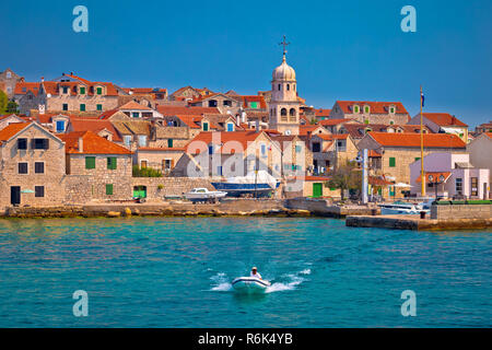 Prvic Sepurine waterfront and stone architecture view - Stock Photo