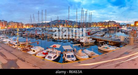 Night Piraeus Marina in Athens, Greece - Stock Photo