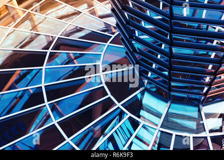 Windows inside the glass dome on the roof of Reichstag building in Berlin. Abstract business background - Stock Photo