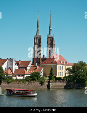 Wroclaw. View of the island Tumski in Poland - Stock Photo