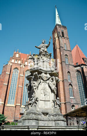 Statue of John of Nepomuk in Wroclaw - Stock Photo