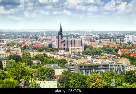 View on the city and the church, Wroclaw Poland - Stock Photo