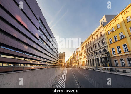 New and old architecture of Wroclaw, on the sunset. Poland. Europe. - Stock Photo