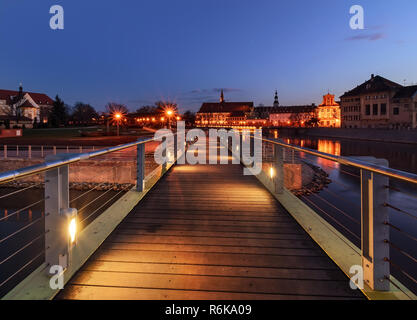 Pedestrian bridge over the Orda river in Wroclaw. Polish. - Stock Photo