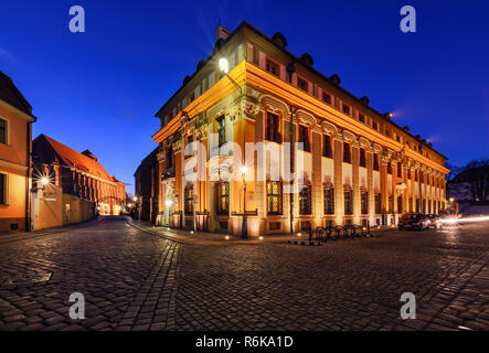 Vintage architecture of Wroclaw, Poland in the evening. - Stock Photo