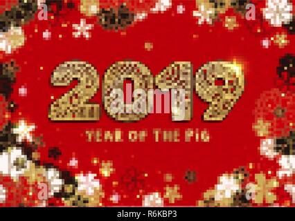 year of the pig banner with gold 2019 paper cutting or laser cut numbers on bright