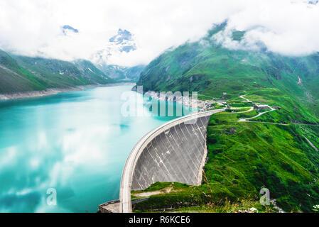 Kaprun dam on reservoir Mooserboden in Austria - Stock Photo