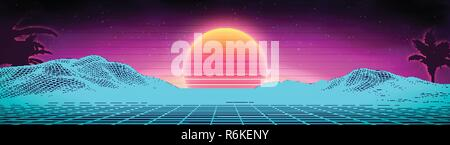 Retro background futuristic landscape 1980s style. Digital retro landscape cyber surface. 80s party background . Retro 80s fashion Sci-Fi Background Summer Landscape. - Stock Photo