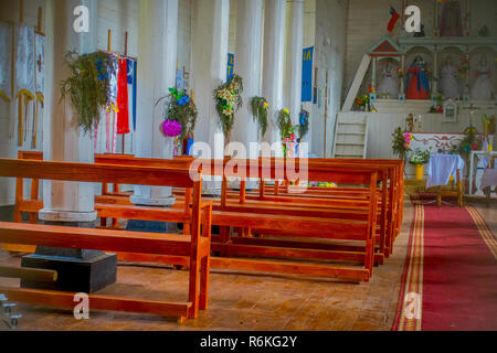 CHILOE, CHILE - SEPTEMBER, 27, 2018: Inside view of Jes s of Nazareno church in Aldachildo on Lemuy Island, is one of the Churches of Chilo Archipelag - Stock Photo