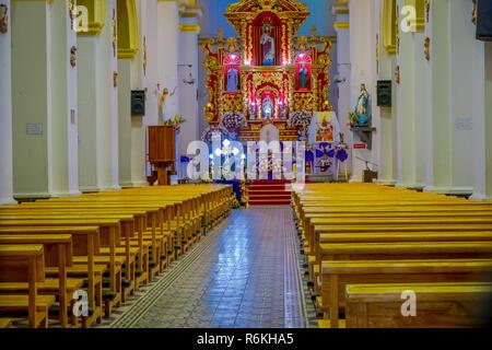 COTACACHI, ECUADOR, NOVEMBER 06, 2018: Indoor view of colonial church on Parque Matriz, in Cotacachi Ecuador - Stock Photo